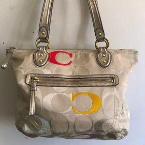 COACH Medium Interwoven Jacquard Bag - Tan